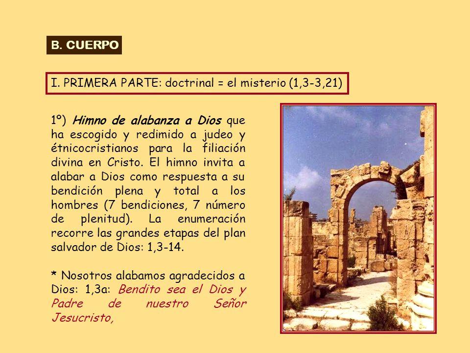 B. CUERPO I. PRIMERA PARTE: doctrinal = el misterio (1,3-3,21)