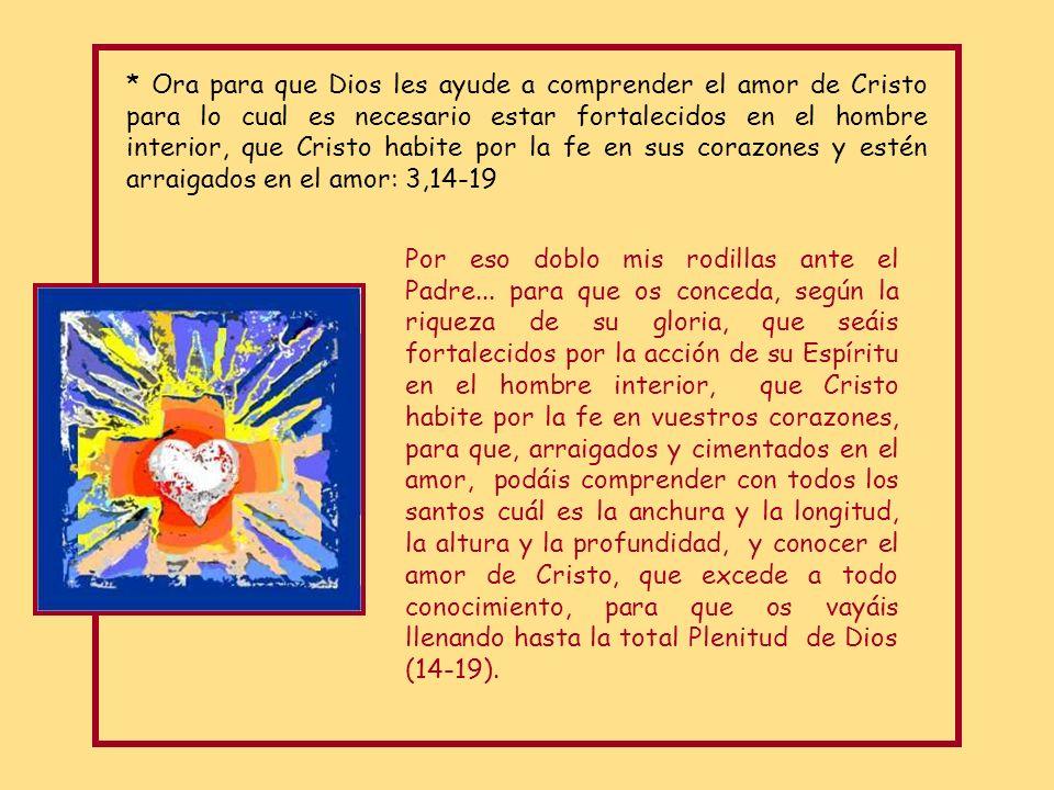 * Ora para que Dios les ayude a comprender el amor de Cristo para lo cual es necesario estar fortalecidos en el hombre interior, que Cristo habite por la fe en sus corazones y estén arraigados en el amor: 3,14-19