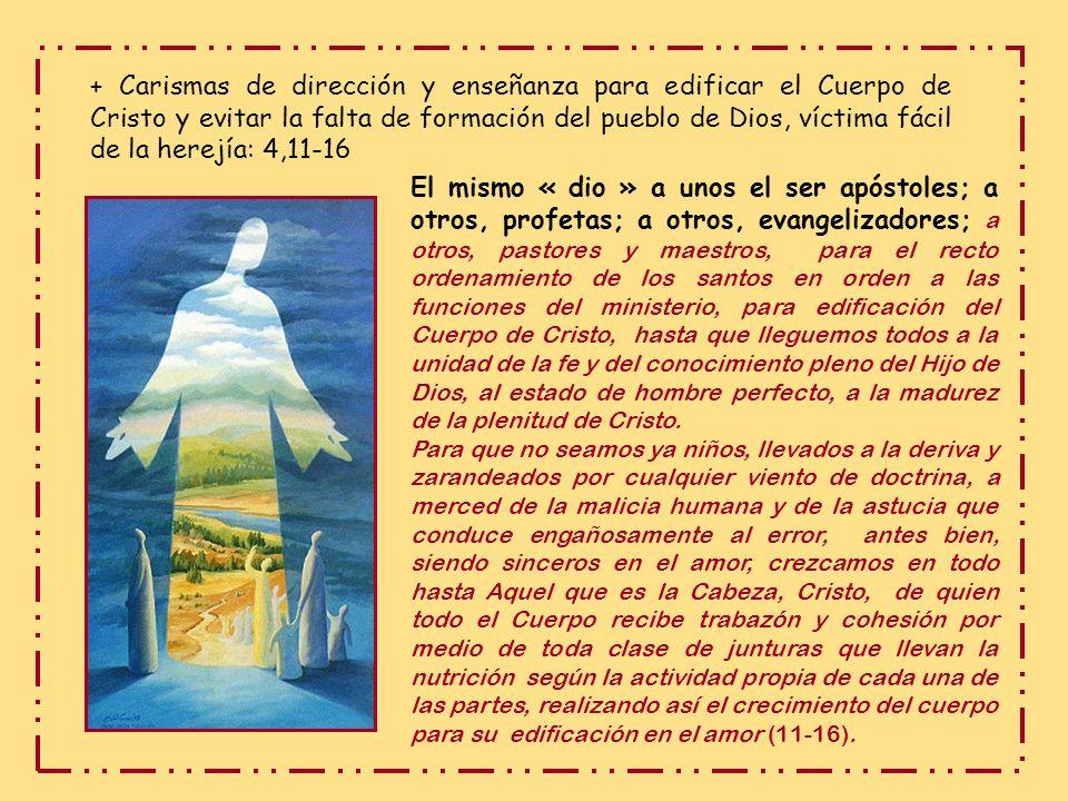 + Carismas de dirección y enseñanza para edificar el Cuerpo de Cristo y evitar la falta de formación del pueblo de Dios, víctima fácil de la herejía: 4,11-16