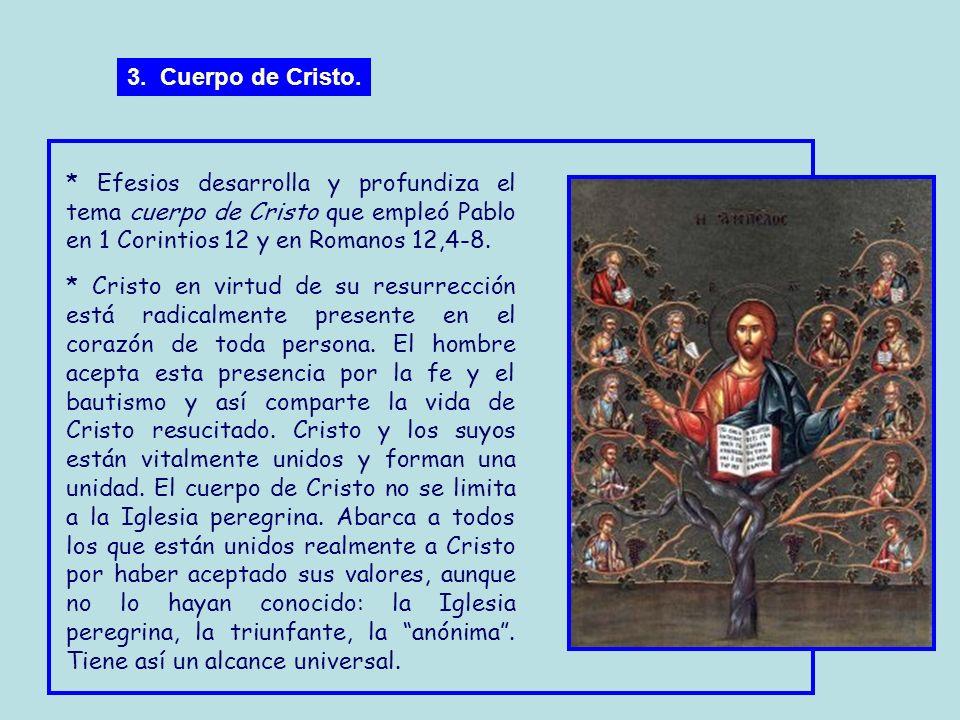 3. Cuerpo de Cristo. * Efesios desarrolla y profundiza el tema cuerpo de Cristo que empleó Pablo en 1 Corintios 12 y en Romanos 12,4-8.