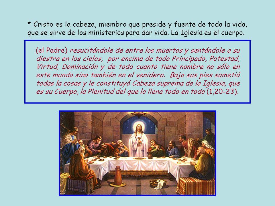 * Cristo es la cabeza, miembro que preside y fuente de toda la vida, que se sirve de los ministerios para dar vida. La Iglesia es el cuerpo.