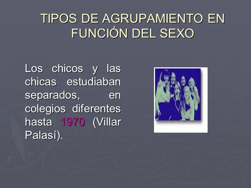 TIPOS DE AGRUPAMIENTO EN FUNCIÓN DEL SEXO