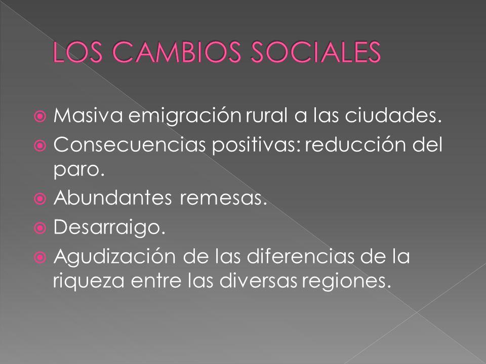 LOS CAMBIOS SOCIALES Masiva emigración rural a las ciudades.