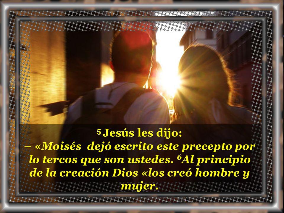 5 Jesús les dijo: – «Moisés dejó escrito este precepto por lo tercos que son ustedes.