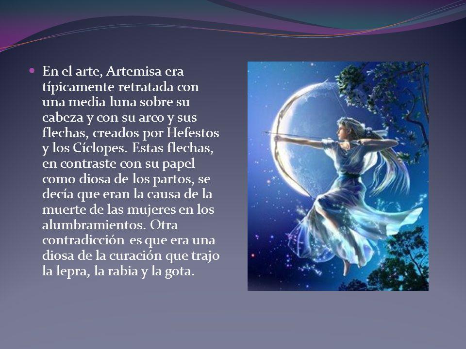En el arte, Artemisa era típicamente retratada con una media luna sobre su cabeza y con su arco y sus flechas, creados por Hefestos y los Cíclopes.