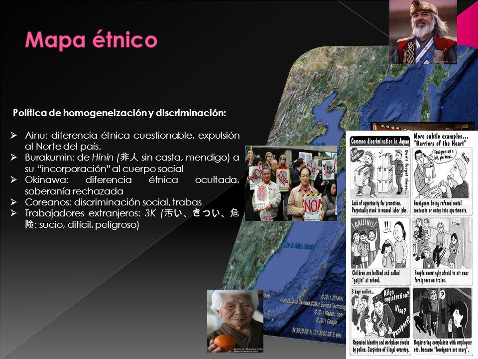 Mapa étnico Política de homogeneización y discriminación: