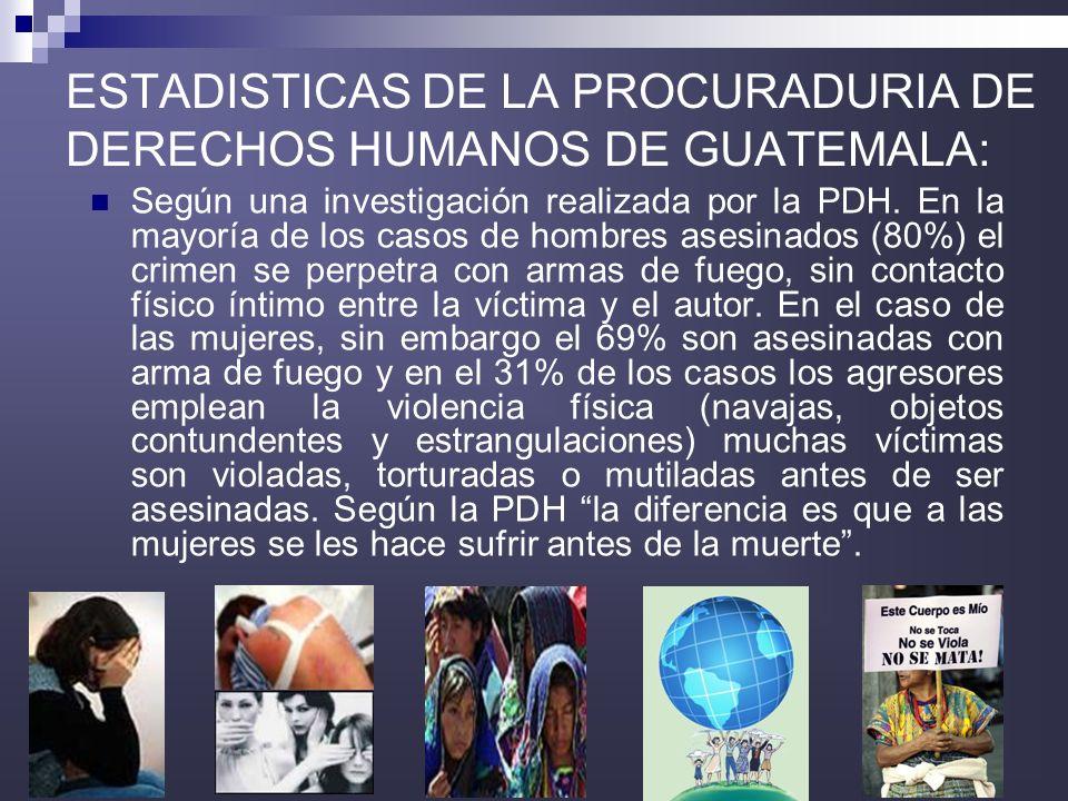 ESTADISTICAS DE LA PROCURADURIA DE DERECHOS HUMANOS DE GUATEMALA: