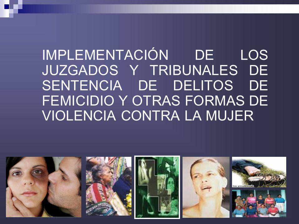 IMPLEMENTACIÓN DE LOS JUZGADOS Y TRIBUNALES DE SENTENCIA DE DELITOS DE FEMICIDIO Y OTRAS FORMAS DE VIOLENCIA CONTRA LA MUJER