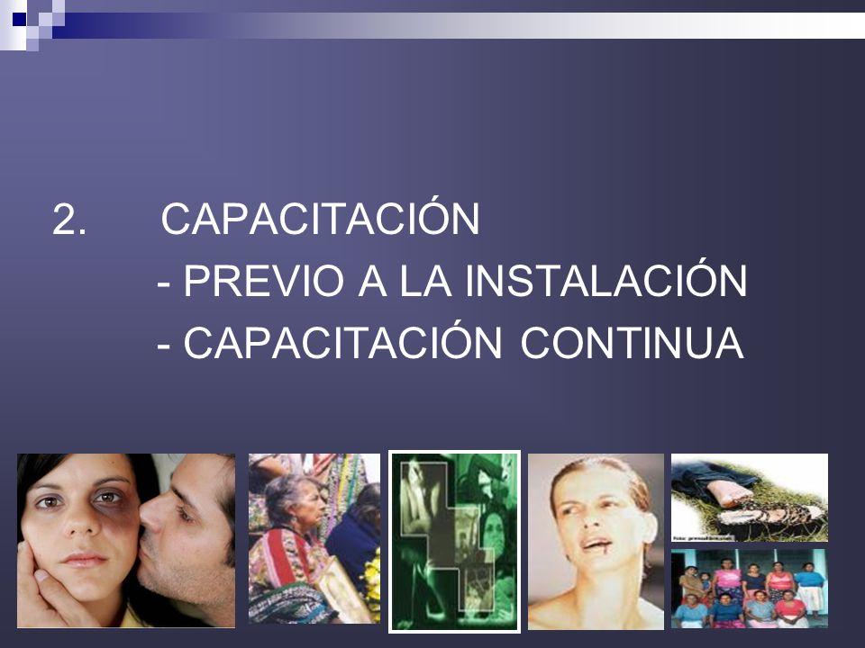 2. CAPACITACIÓN - PREVIO A LA INSTALACIÓN - CAPACITACIÓN CONTINUA