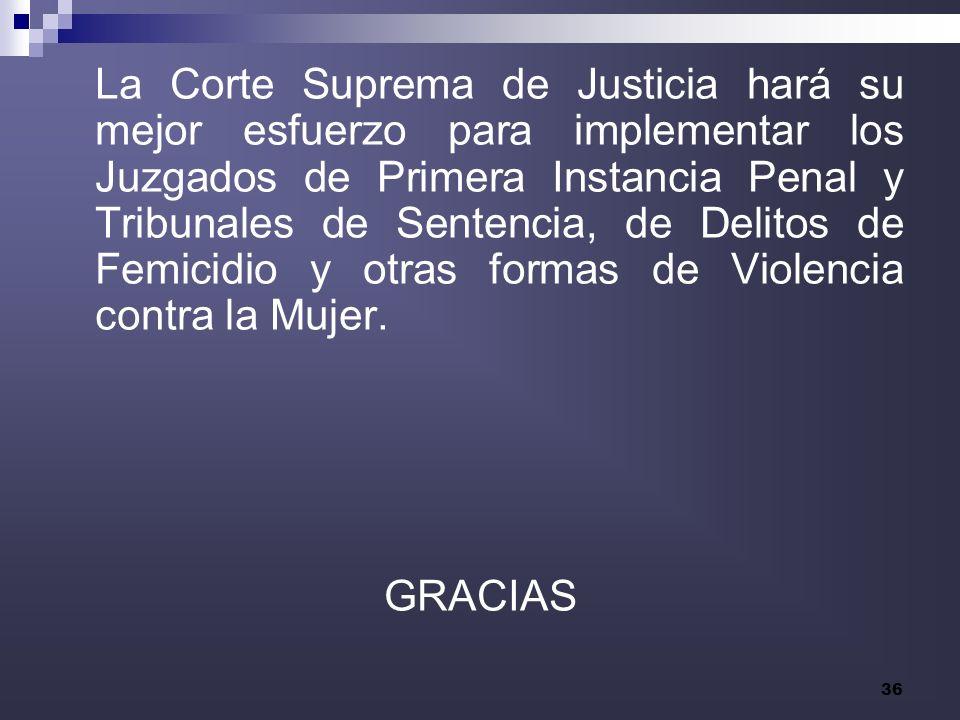 La Corte Suprema de Justicia hará su mejor esfuerzo para implementar los Juzgados de Primera Instancia Penal y Tribunales de Sentencia, de Delitos de Femicidio y otras formas de Violencia contra la Mujer.