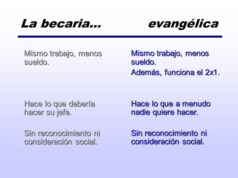 La becaria… evangélica Mismo trabajo, menos sueldo.