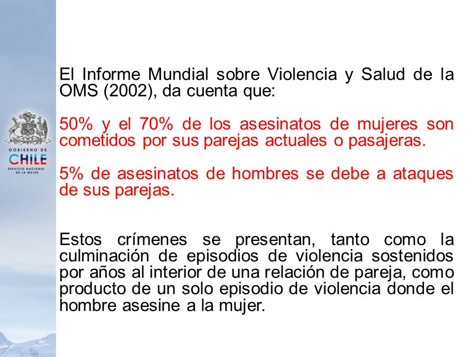 5% de asesinatos de hombres se debe a ataques de sus parejas.