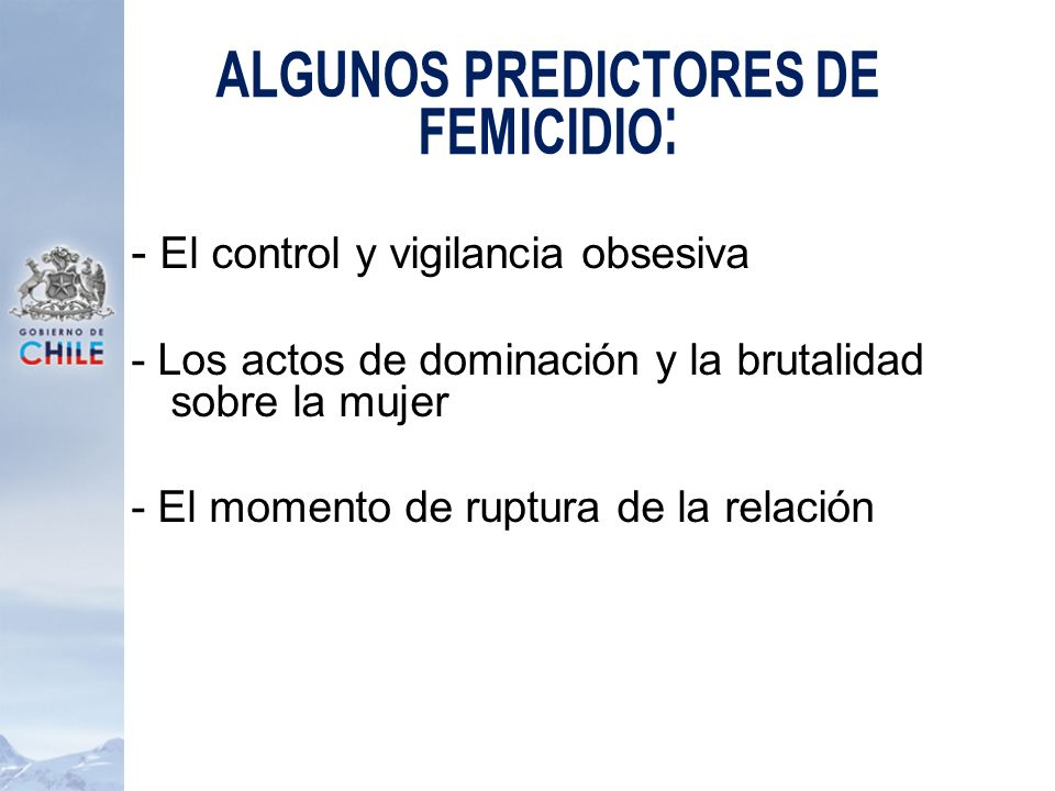 Algunos predictores de Femicidio: