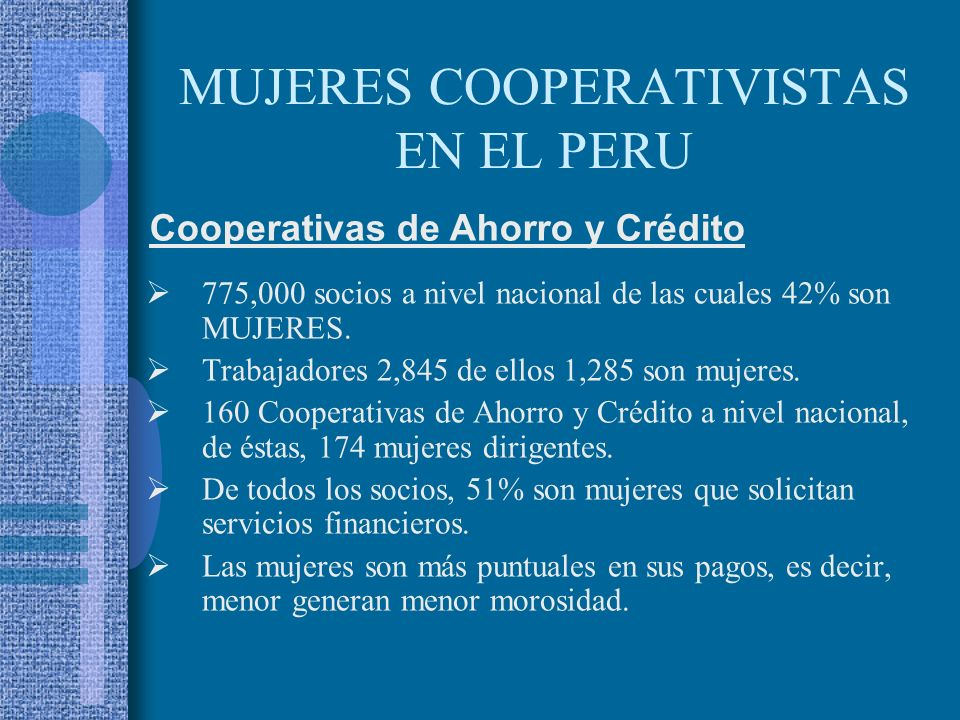 MUJERES COOPERATIVISTAS EN EL PERU