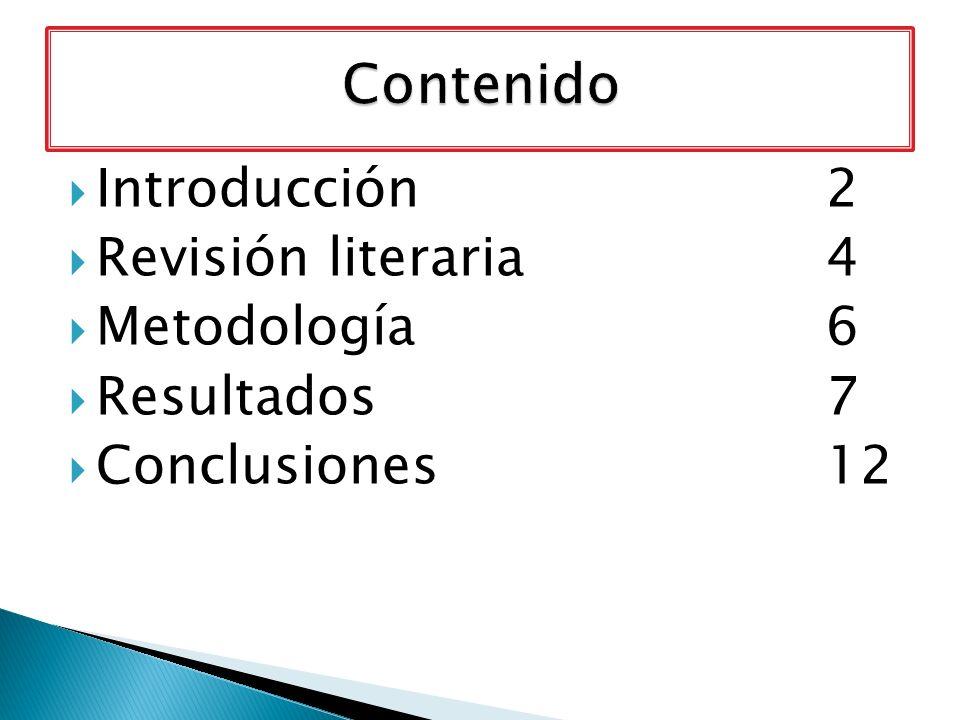 Contenido Introducción 2 Revisión literaria 4 Metodología 6