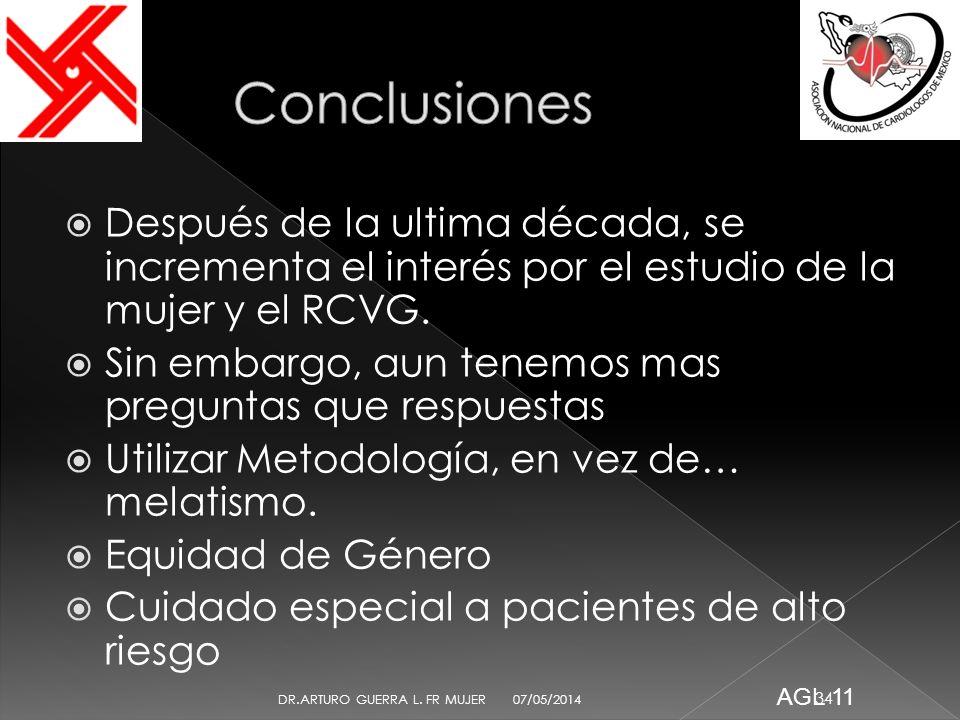 ConclusionesDespués de la ultima década, se incrementa el interés por el estudio de la mujer y el RCVG.