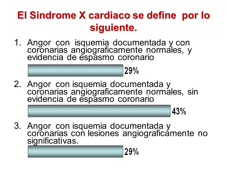 El Sindrome X cardiaco se define por lo siguiente.