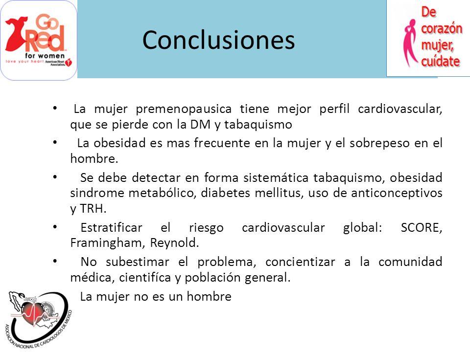 ConclusionesLa mujer premenopausica tiene mejor perfil cardiovascular, que se pierde con la DM y tabaquismo.