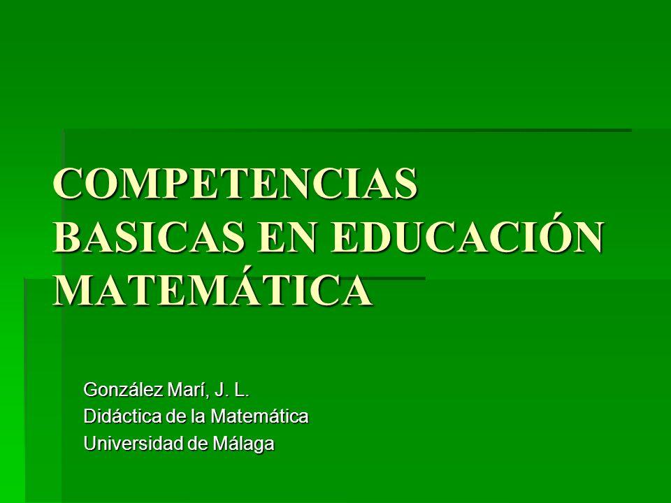 COMPETENCIAS BASICAS EN EDUCACIÓN MATEMÁTICA