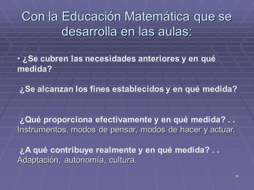 Con la Educación Matemática que se desarrolla en las aulas:
