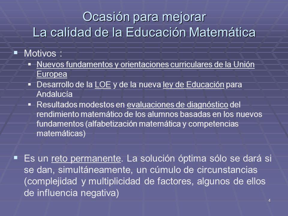 Ocasión para mejorar La calidad de la Educación Matemática