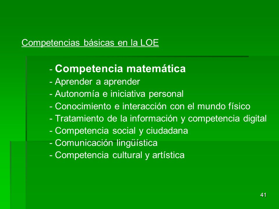 Competencias básicas en la LOE