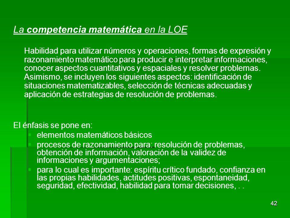 La competencia matemática en la LOE