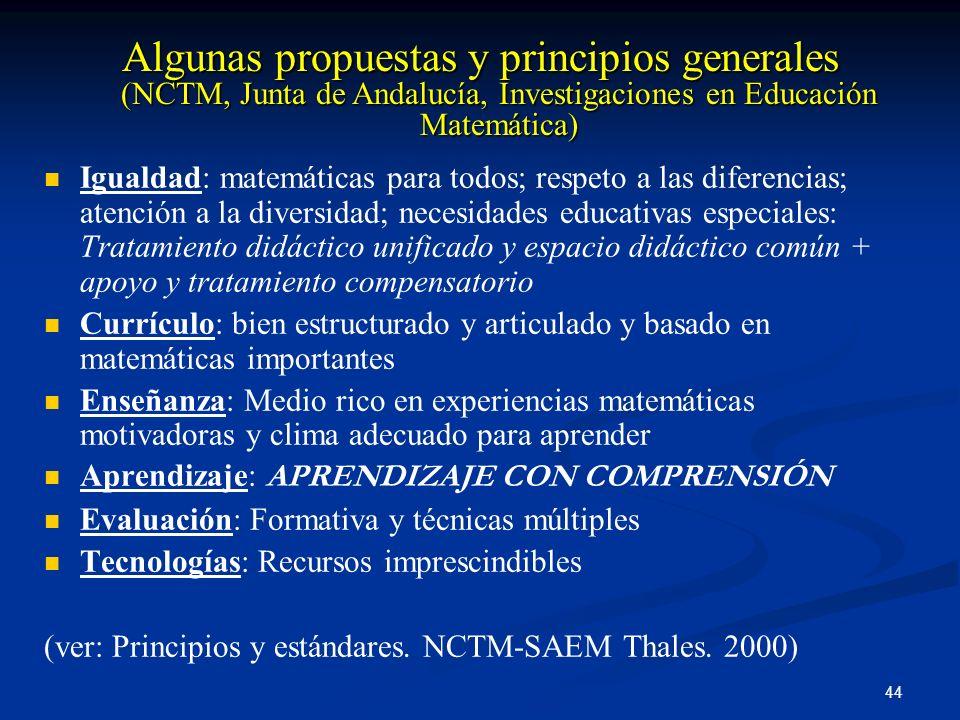 Algunas propuestas y principios generales (NCTM, Junta de Andalucía, Investigaciones en Educación Matemática)