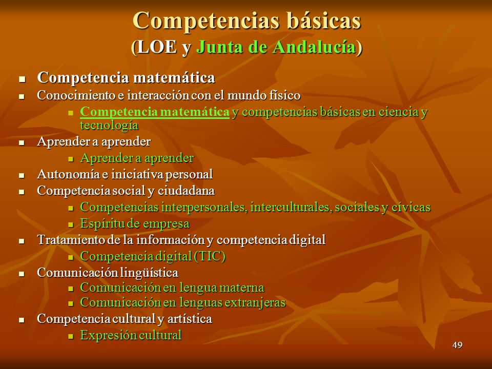 Competencias básicas (LOE y Junta de Andalucía)