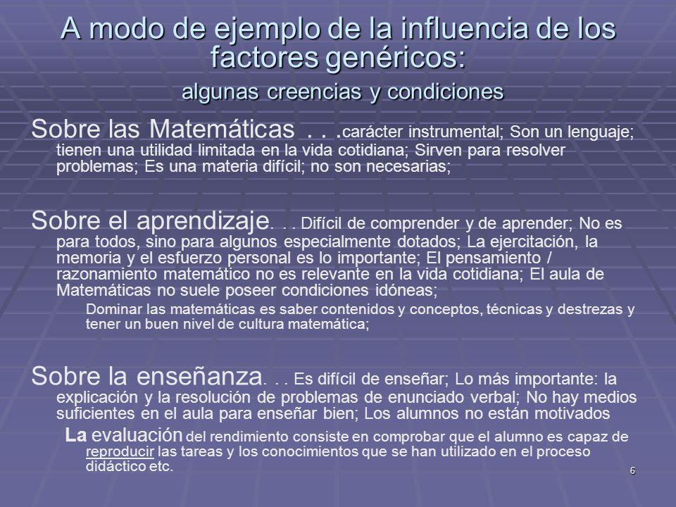 A modo de ejemplo de la influencia de los factores genéricos: algunas creencias y condiciones