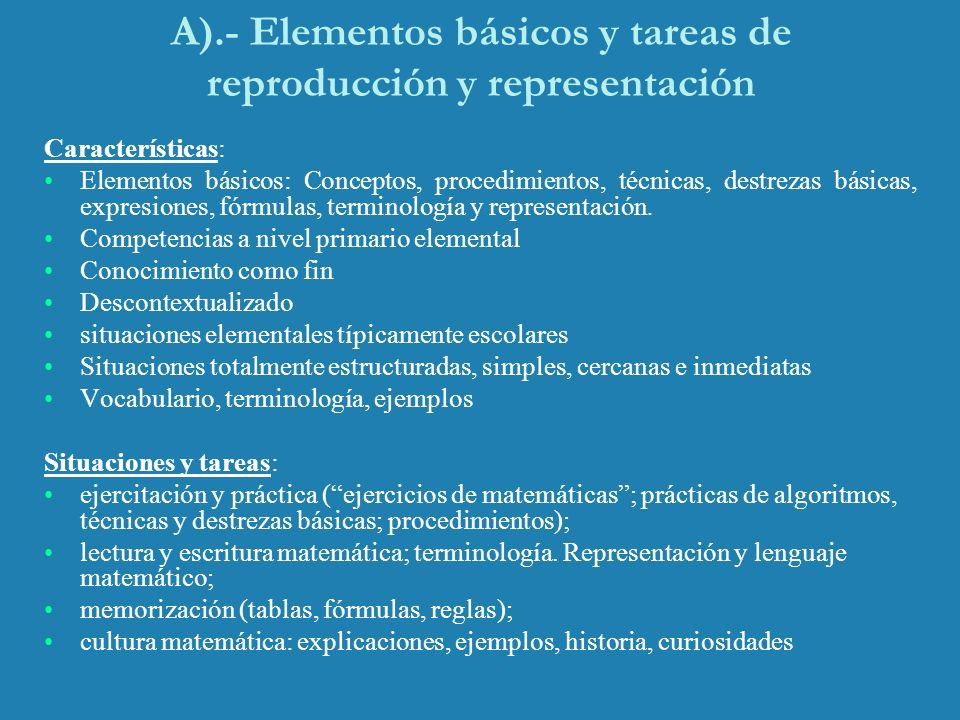 A).- Elementos básicos y tareas de reproducción y representación