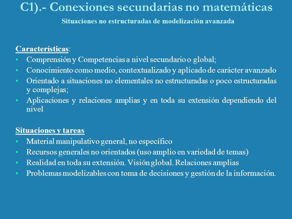 C1).- Conexiones secundarias no matemáticas Situaciones no estructuradas de modelización avanzada