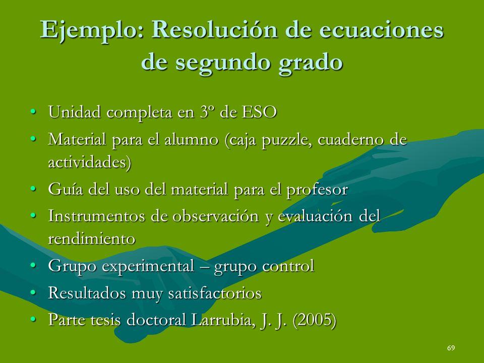 Ejemplo: Resolución de ecuaciones de segundo grado