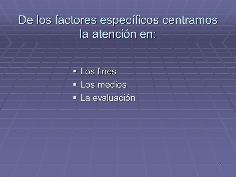 De los factores específicos centramos la atención en:
