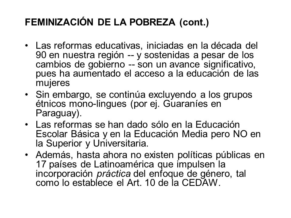 FEMINIZACIÓN DE LA POBREZA (cont.)