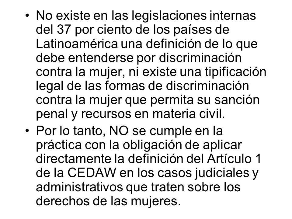 No existe en las legislaciones internas del 37 por ciento de los países de Latinoamérica una definición de lo que debe entenderse por discriminación contra la mujer, ni existe una tipificación legal de las formas de discriminación contra la mujer que permita su sanción penal y recursos en materia civil.