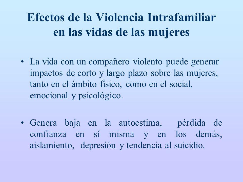 Efectos de la Violencia Intrafamiliar en las vidas de las mujeres