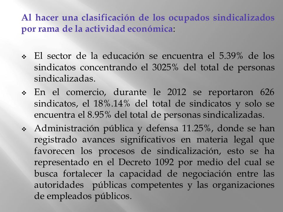 Al hacer una clasificación de los ocupados sindicalizados por rama de la actividad económica: