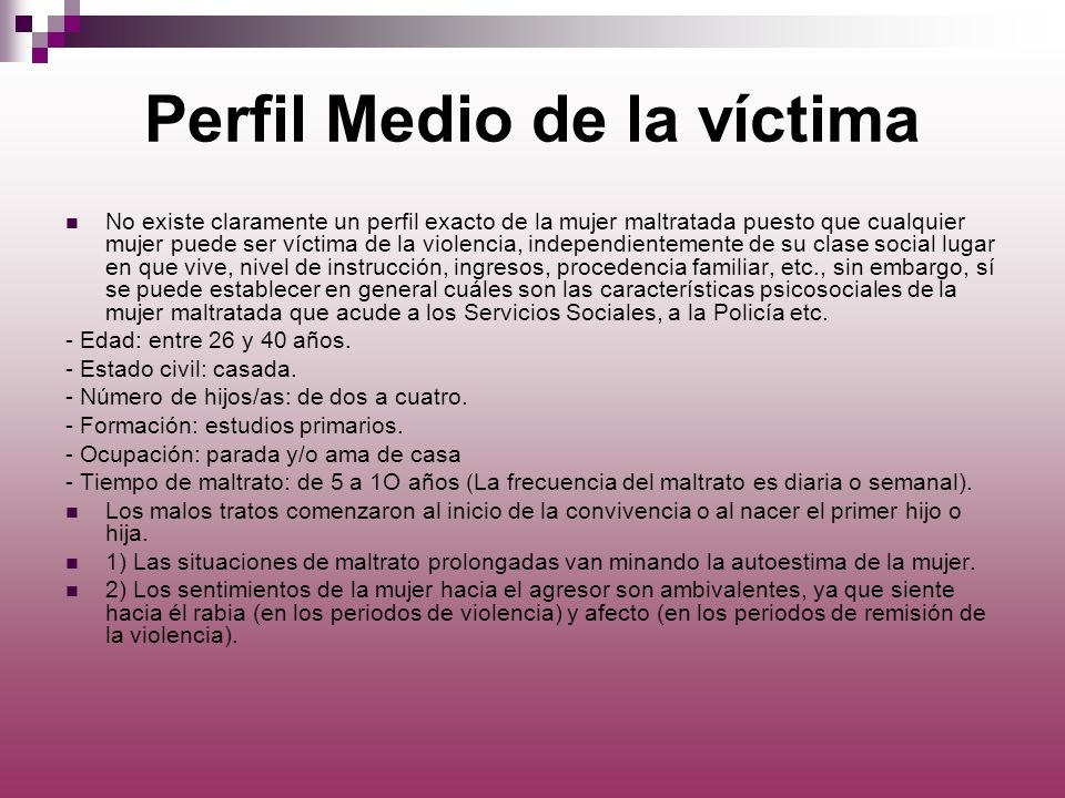 Perfil Medio de la víctima