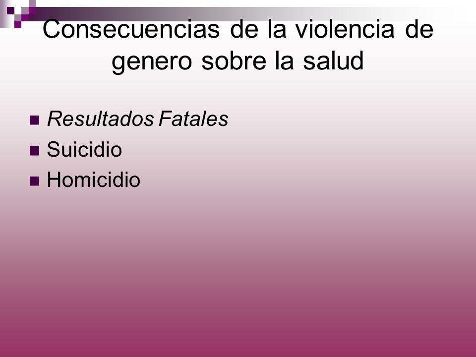 Consecuencias de la violencia de genero sobre la salud