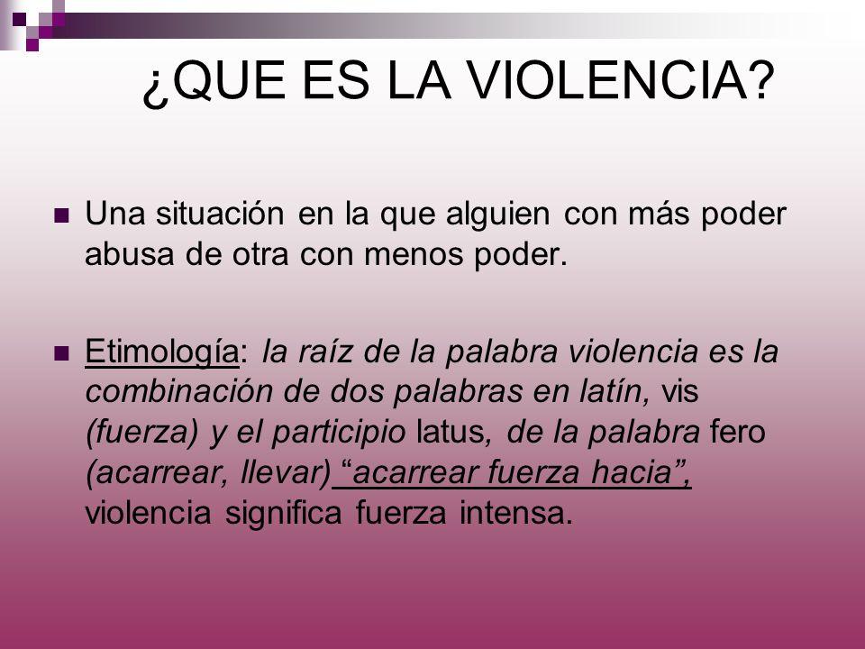 ¿QUE ES LA VIOLENCIA Una situación en la que alguien con más poder abusa de otra con menos poder.