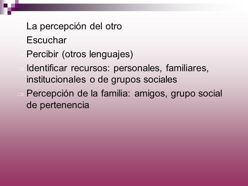 La percepción del otro Escuchar. Percibir (otros lenguajes) Identificar recursos: personales, familiares, institucionales o de grupos sociales.