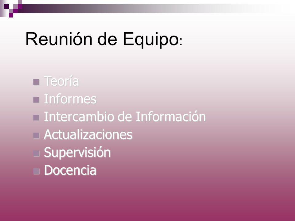 Reunión de Equipo: Teoría Informes Intercambio de Información