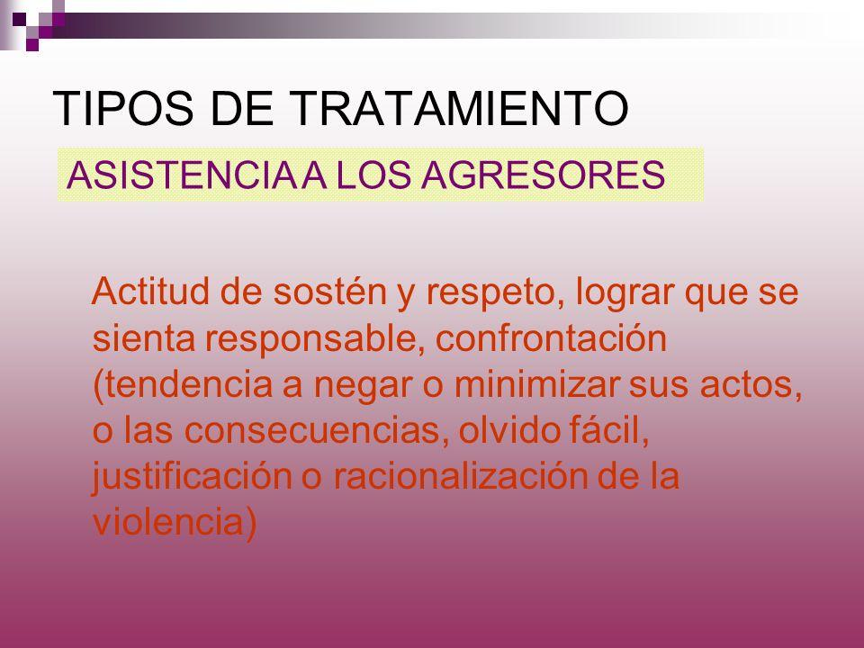 TIPOS DE TRATAMIENTO ASISTENCIA A LOS AGRESORES