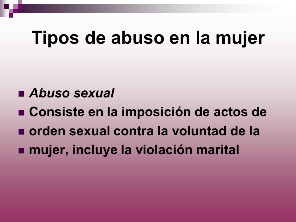 Tipos de abuso en la mujer
