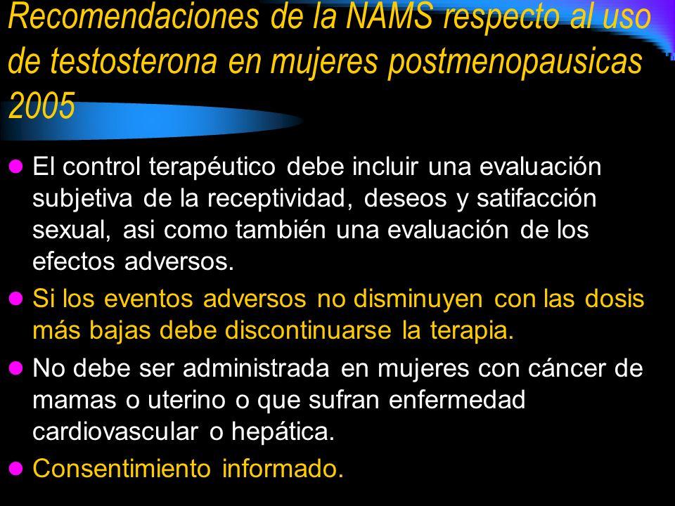Recomendaciones de la NAMS respecto al uso de testosterona en mujeres postmenopausicas 2005