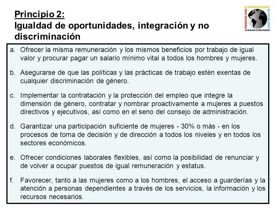 Principio 2: Igualdad de oportunidades, integración y no discriminación