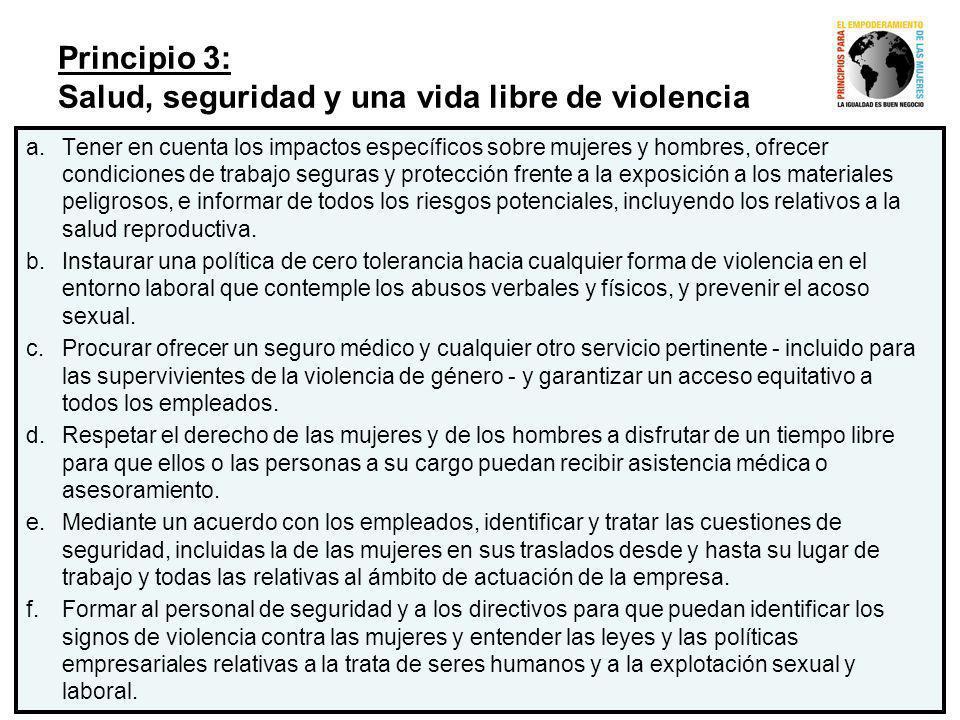 Principio 3: Salud, seguridad y una vida libre de violencia