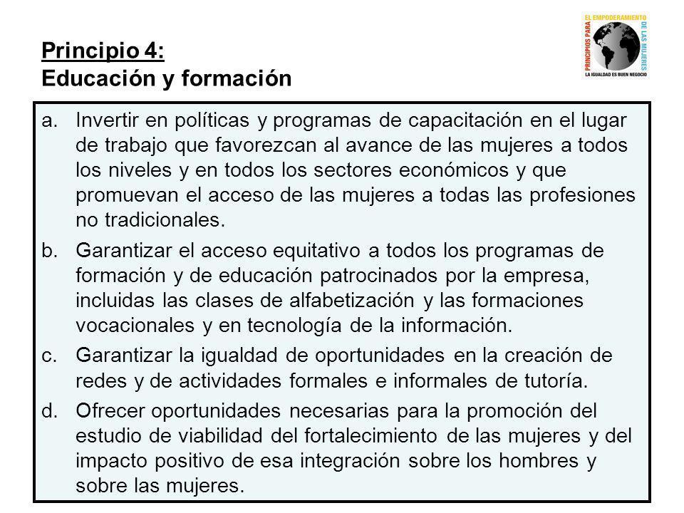 Principio 4: Educación y formación
