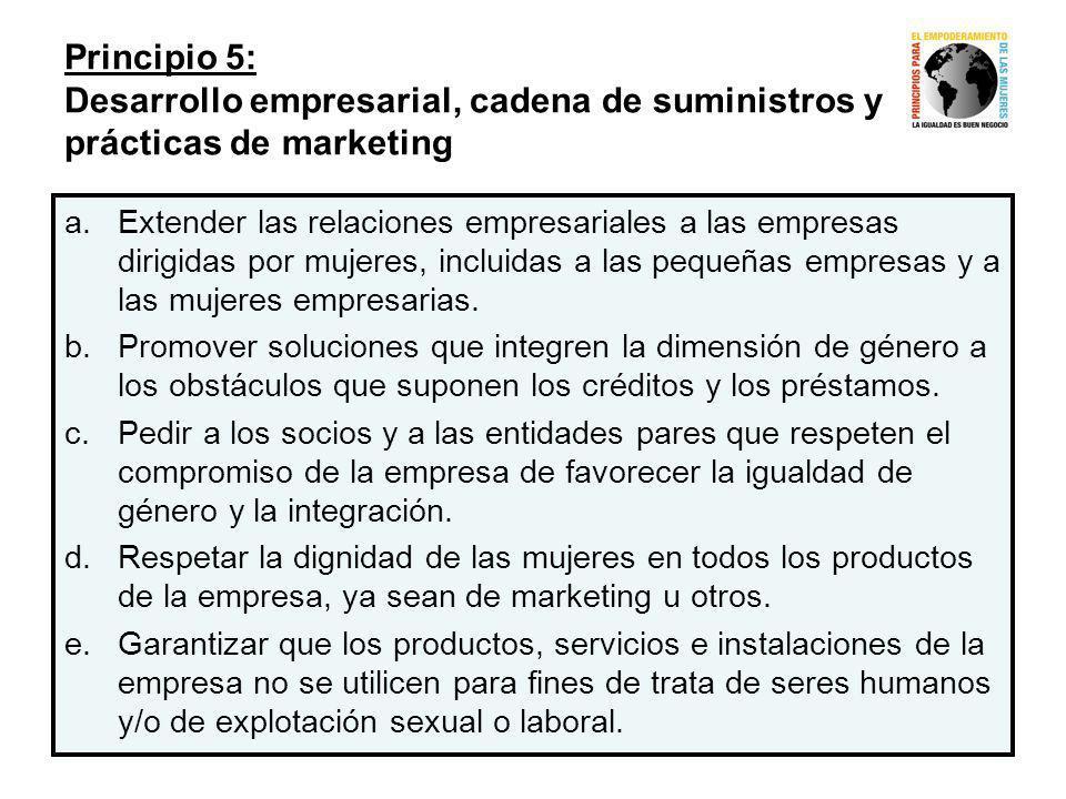 Principio 5: Desarrollo empresarial, cadena de suministros y prácticas de marketing